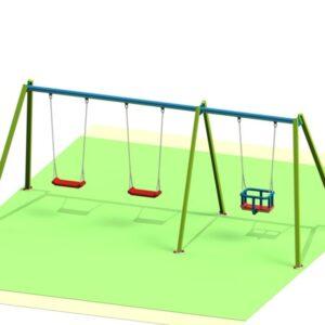Leagan parc din metal cu 3 locuri