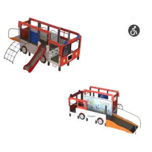 Ansamblu de joaca pentru exterior din aluminiu Masina pompieri pentru persoane cu dizabilitati LJ527