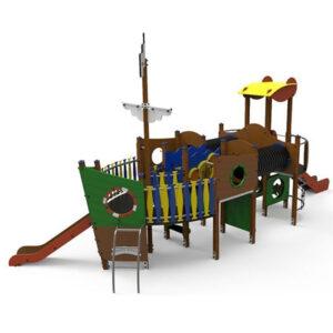 Ansamblu de joaca exterior din lemn Vapor LJ519