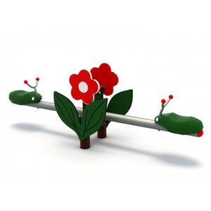 Balansoar metalic 2 locuri cu floare LJ634