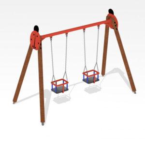 Leagan din lemn cu 2 locuri pentru copii mici LJ631